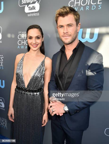 Actors Gal Gadot and Chris Hemsworth attend The 23rd Annual Critics' Choice Awards at Barker Hangar on January 11 2018 in Santa Monica California