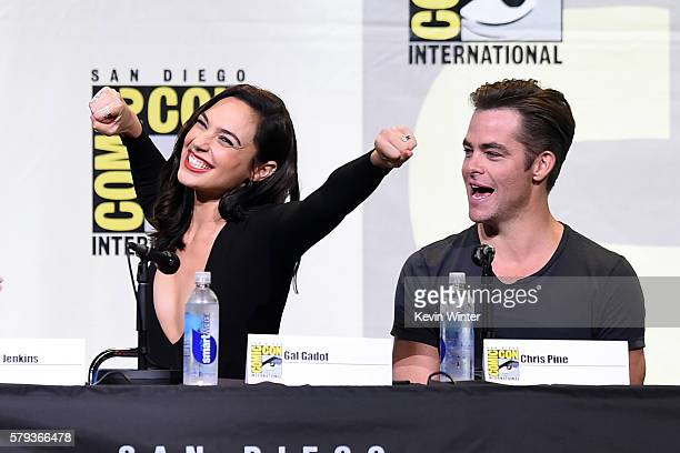 Actors Gal Gadot and Chris Pine attend the Warner Bros Presentation during ComicCon International 2016 at San Diego Convention Center on July 23 2016...