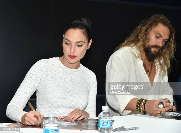 Actors Gal Gadot and Jason Momoa during the 'Justice League' autograph signing at ComicCon International 2017 at San Diego Convention Center on July...