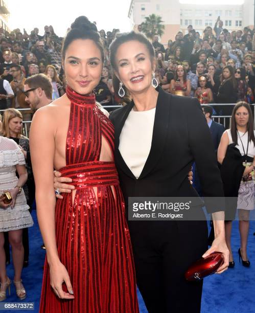 Actors Gal Gadot and Lynda Carter attend the premiere of Warner Bros Pictures' Wonder Woman at the Pantages Theatre on May 25 2017 in Hollywood...