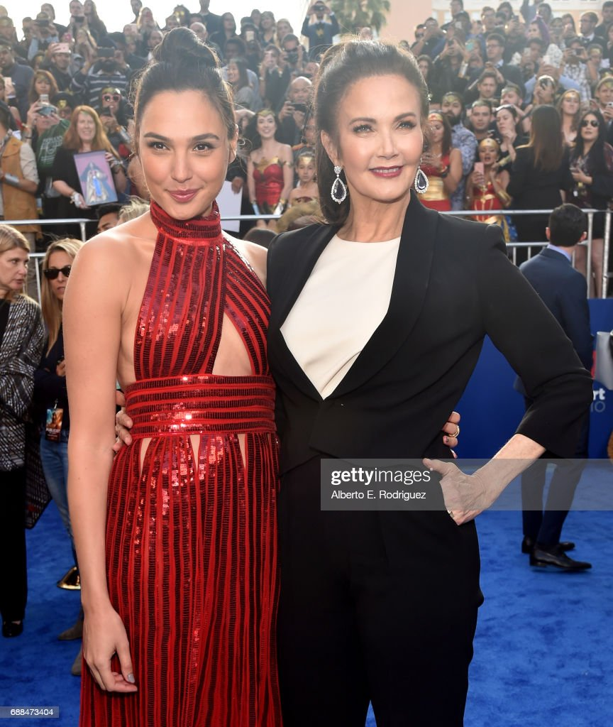 Actors Gal Gadot (L) and Lynda Carter attend the premiere of Warner Bros. Pictures' 'Wonder Woman' at the Pantages Theatre on May 25, 2017 in Hollywood, California.