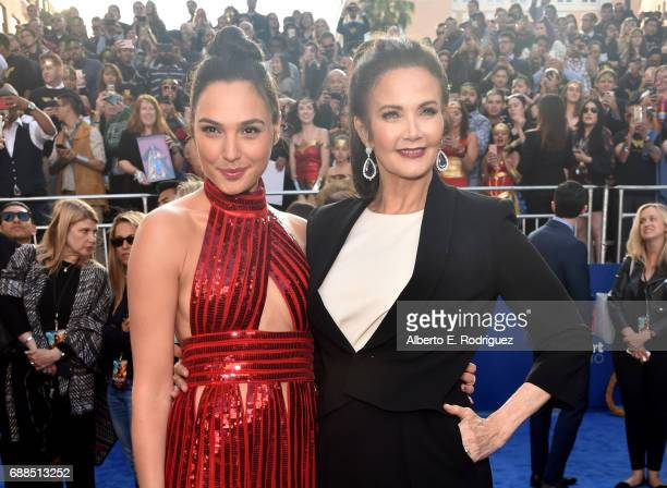 "Actors Gal Gadot and Lynda Carter attend the premiere of Warner Bros. Pictures' ""Wonder Woman"" at the Pantages Theatre on May 25, 2017 in Hollywood,..."