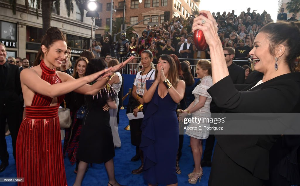 Actors Gal Gadot and Lynda Carter attend the premiere of Warner Bros. Pictures' 'Wonder Woman' at the Pantages Theatre on May 25, 2017 in Hollywood, California.
