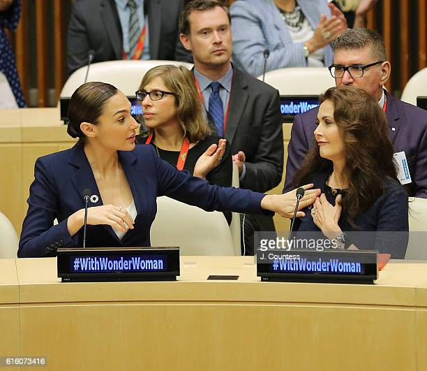 Actors Gal Gadot and Lynda Carter attend the Wonder Woman UN Ambassador Ceremony at United Nations on October 21 2016 in New York City