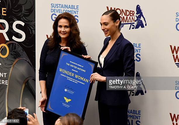Actors Gal Gadot and Lynda Carter pose as the UN names the comic character Wonder Woman its Honorary Ambassador for the Empowerment of Women and...