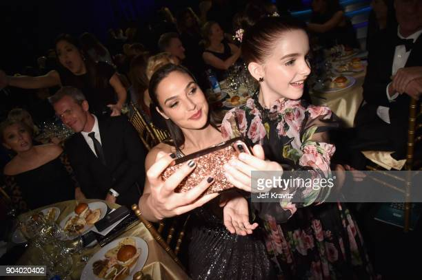 Actors Gal Gadot and Mckenna Grace attend The 23rd Annual Critics' Choice Awards at Barker Hangar on January 11 2018 in Santa Monica California