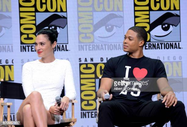 Actors Gal Gadot and Ray Fisher attend the Warner Bros Pictures 'Justice League' Presentation during ComicCon International 2017 at San Diego...