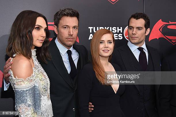 Actors Gal Gadot Ben Affleck Amy Adams and Henry Cavill attend the 'Batman V Superman Dawn Of Justice' New York Premiere at Radio City Music Hall on...
