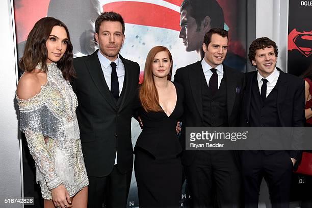 Actors Gal Gadot Ben Affleck Amy Adams Henry Cavill and Jesse Eisenberg attend the launch of Bai Superteas at the 'Batman v Superman Dawn of Justice'...