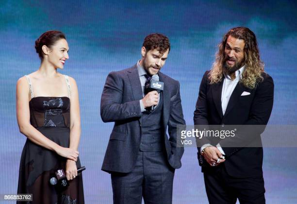 Actors Gal Gadot Henry Cavill and Jason Momoa attend 'Justice League' premiere at 798 Art Zone on October 26 2017 in Beijing China