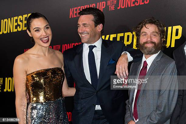 Actors Gal Gadot Jon Hamm and Zach Galifianakis attends the premiere of 20th Century Fox's 'Keeping up with the Joneses' at Fox Studios on October 8...