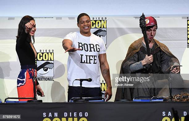 Actors Gal Gadot Ray Fisher and Ezra Miller attend the Warner Bros 'Justice League' Presentation during ComicCon International 2016 at San Diego...