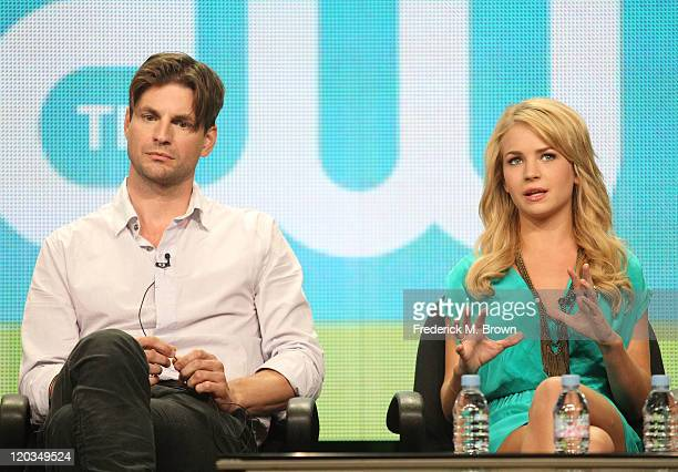 Actors Gale Harold and Britt Robertson speak during 'The Secret Circle' panel during the CW portion of the 2011 Summer TCA Tour held at the Beverly...