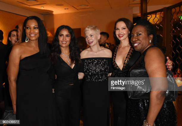 Actors Garcelle Beauvais Salma Hayek Michelle Williams Ashley Judd and activist Tarana Burke attend HBO's Official 2018 Golden Globe Awards After...