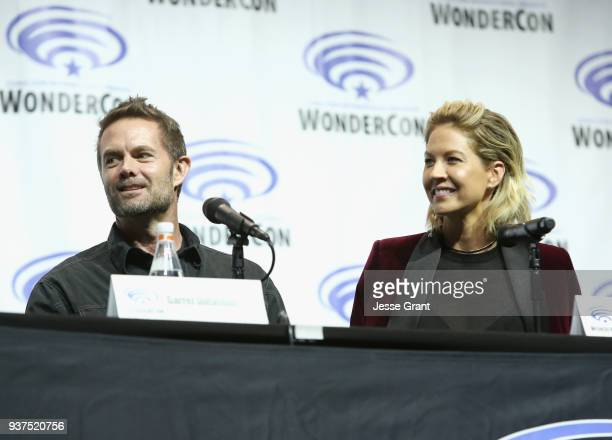 Actors Garret Dillahunt and Jenna Elfman speak onstage during AMC's 'Fear of the Walking Dead' panel at WonderCon at Anaheim Convention Center on...