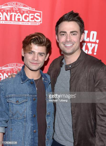 Actors Garrett Clayton and Jonathan Bennett attend the Los Angeles premiere of the musical Hello Dolly at the Pantages Theatre on January 30 2019 in...