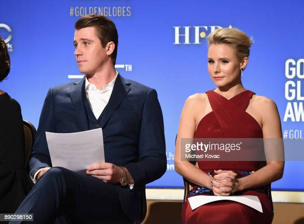 Actors Garrett Hedlund and Kristen Bell speak during Moet Chandon Toasts The 75th Annual Golden Globe Awards Nominations at The Beverly Hilton Hotel...