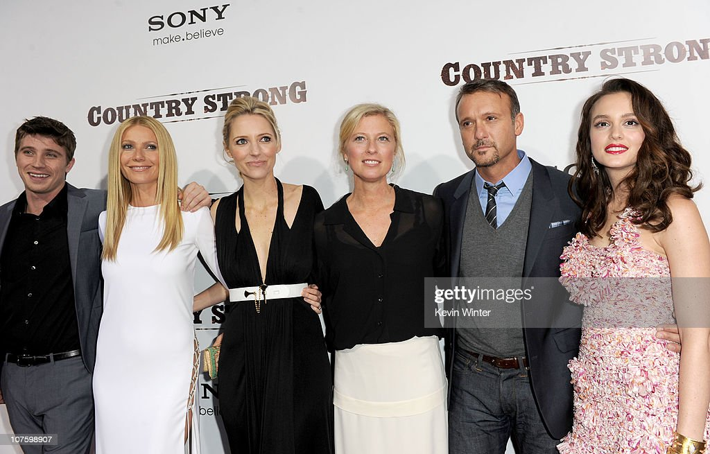 Actors Garrett Hedlund, Gwyneth Paltrow, director/writer Shana Feste, producer Jenno Topping, actor/musician Tim McGraw, and actress Leighton Meester arrive at the screening of Screen Gems' 'Country Strong' at The Academy of Motion Picture Arts & Sciences on December 14, 2010 in Beverly Hills, California.