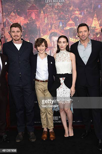 Actors Garrett Hedlund Levi Miller Rooney Mara and Hugh Jackman attend the 'Pan' New York premiere at the Ziegfeld Theater on October 4 2015 in New...