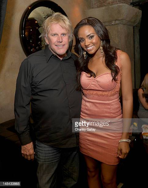 Actors Gary Busey and Meagan Tandy attend the Pirahna 3DD premiere after party at Roosevelt Hotel on May 29 2012 in Los Angeles California
