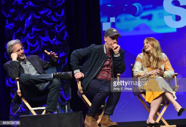 Actors Gary Cole Matt Walsh and Anna Chlumsky speak onstage at 'Featured Session 'VEEP' Cast' during 2017 SXSW Conference and Festivals at Austin...