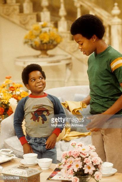 Actors Gary Coleman and Todd Bridges on the set of their show 'Diff'rent Strokes' circa 1980 in Los Angeles California