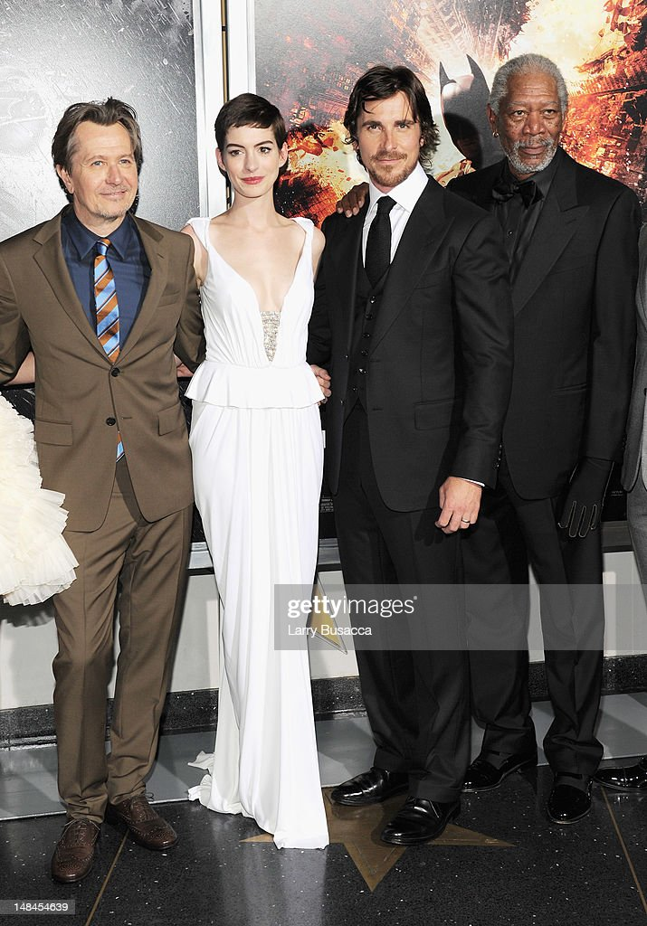 Actors Gary Oldman, Anne Hathaway, Christian Bale and Morgan Freeman attend 'The Dark Knight Rises' New York Premiere at AMC Lincoln Square Theater on July 16, 2012 in New York City.
