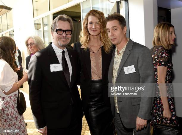 Actors Gary Oldman Laura Dern and Sam Rockwell attend the 90th Annual Academy Awards Nominee Luncheon at The Beverly Hilton Hotel on February 5 2018...