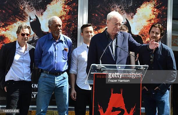 Actors Gary Oldman, Morgan Freeman, Joseph Gordon-Levitt, Michael Caine, Anne Hathaway, Christian Bale, at the Hand and Footprint Ceremony for...