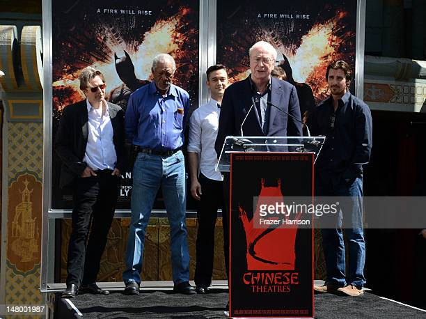 Actors Gary Oldman, Morgan Freeman, Joseph Gordon-Levitt,Michael Caine, Christian Bale attend the Hand and Footprint Ceremony for Director, Writer,...