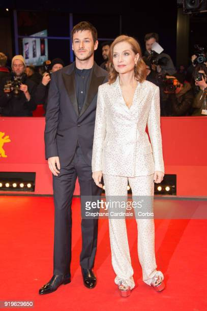 Actors Gaspard Ulliel and Isabelle Huppert attends the 'Eva' premiere during the 68th Berlinale International Film Festival Berlin at Berlinale...