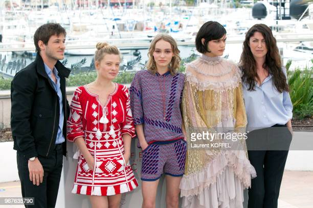 Actors Gaspard Ulliel Melanie Thierry LilyRose Depp Soko and director Stephanie Di Giusto attend the 'The Dancer ' photocall during the 69th annual...