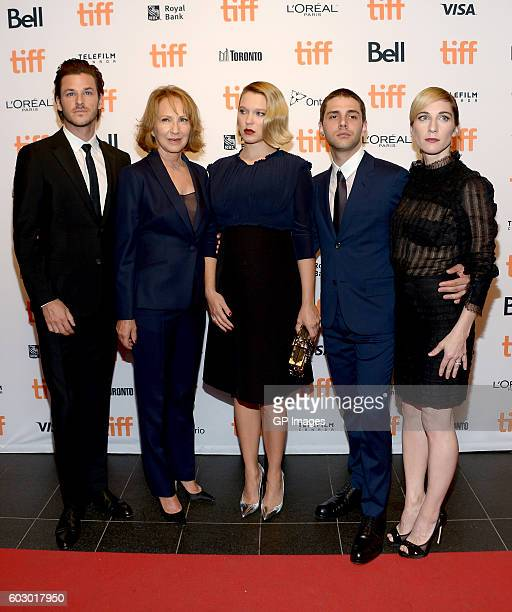 Actors Gaspard Ulliel Nathalie Baye Léa Seydoux director Xavier Dolan and producer Nancy Grant attends the 'It's Only The End Of The World' premiere...