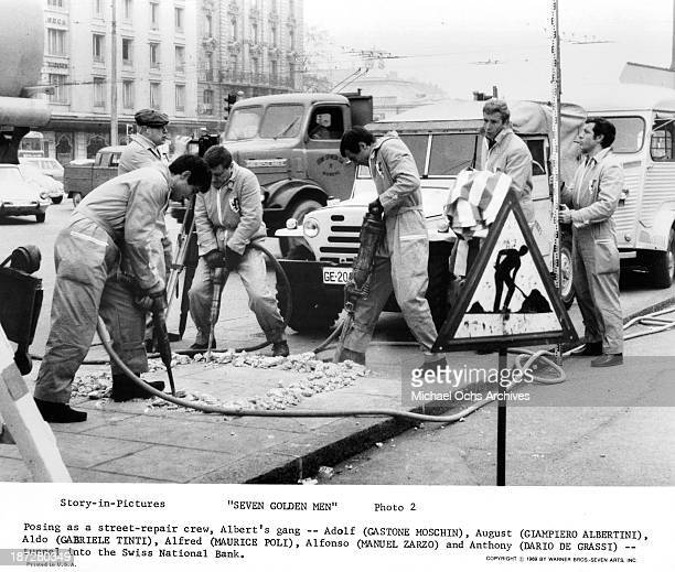 Actors Gastone Moschin Giampiero Albertini Gabriele Tinti Maurice Poli and Manuel Zarzo on set of the Warner Bros movie 'Seven Golden Men' in 1969