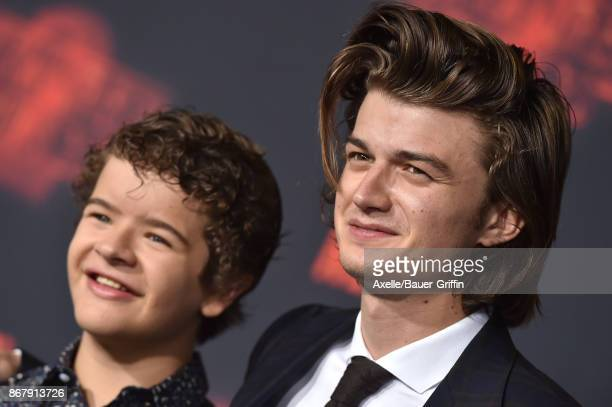 Actors Gaten Matarazzo and Joe Keery arrive at the premiere of Netflix's 'Stranger Things' Season 2 at Regency Bruin Theatre on October 26, 2017 in...