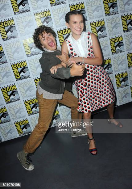 """Actors Gaten Matarazzo and Millie Bobby Brown at Comic-Con International 2017 Netflix's """"Stranger Things"""" panel at San Diego Convention Center on..."""