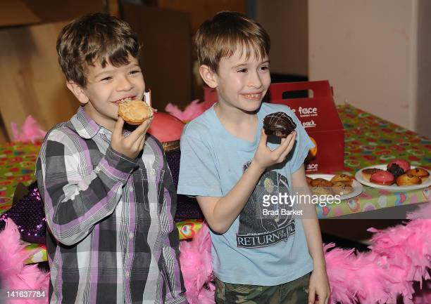 Actors Gaten Matarazzo and Sebastian Thomas attends the Priscilla Queen of the Desert 1 Year on Broadway celebration>> at the Palace Theatre on March...