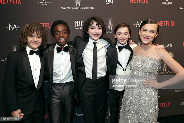 Actors Gaten Matarazzo Caleb McLaughlin Finn Wolfhard Noah Schnapp and Millie Bobby Brown at The Weinstein Company and Netflix Golden Globes Party...