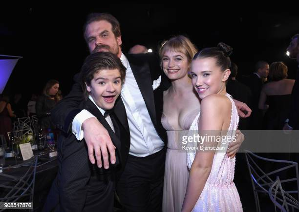 Actors Gaten Matarazzo David Harbour Allison Sudol and Millie Bobby Brown during the 24th Annual Screen Actors Guild Awards at The Shrine Auditorium...