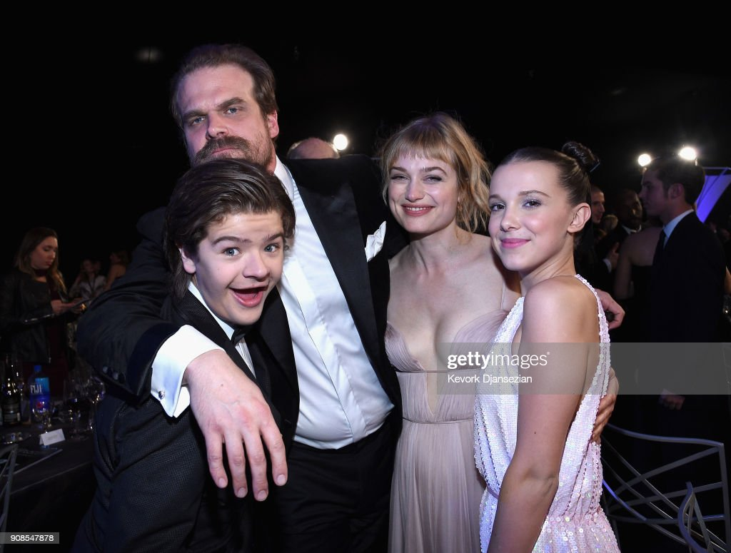 Actors Gaten Matarazzo (L), David Harbour, Allison Sudol, and Millie Bobby Brown during the 24th Annual Screen Actors Guild Awards at The Shrine Auditorium on January 21, 2018 in Los Angeles, California.