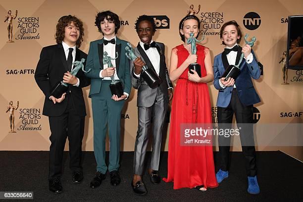 Actors Gaten Matarazzo, Finn Wolfhard, Caleb McLaughlin, Millie Bobby Brown, and Noah Schapp, winners of the Outstanding Ensemble in a Drama Series...