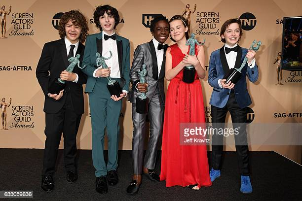 Actors Gaten Matarazzo Finn Wolfhard Caleb McLaughlin Millie Bobby Brown and Noah Schapp winners of the Outstanding Ensemble in a Drama Series award...