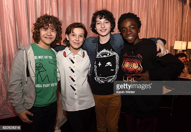 Actors Gaten Matarazzo Millie Bobby Brown Finn Wolfhard and Caleb McLaughlin attend The 23rd Annual Screen Actors Guild Awards Rehearsals at The...