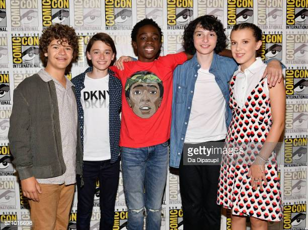 Actors Gaten Matarazzo Noah Schnapp Caleb McLaughlin Finn Wolfhard and Millie Bobby Brown at Netflix's Stranger Things Press line during ComicCon...