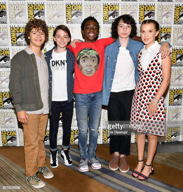 Actors Gaten Matarazzo Noah Schnapp Caleb McLaughlin Finn Wolfhard and Millie Bobby Brown attend Netflix's Stranger Things Press line during ComicCon...