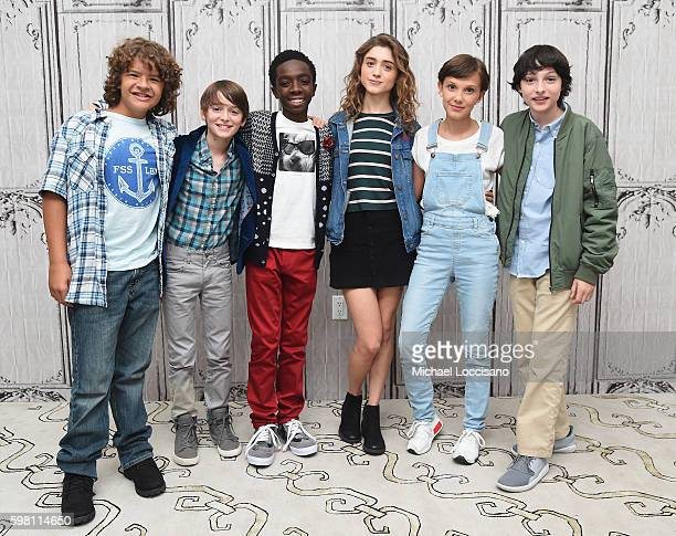 Actors Gaten Matarazzo Noah Schnapp Caleb McLaughlin Natalia Dyer Millie Bobby Brown and Finn Wolfhard of Stranger Things attend the BUILD Series at...