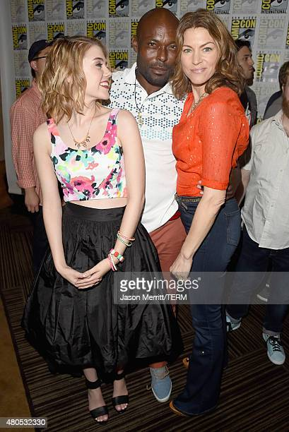 "Actors Gatlin Green, Jimmy Jean-Louis and Rya Kihlstedt attend ""Heroes Reborn"" Press Room during Comic-Con International 2015 at Hilton Bayfront on..."