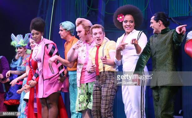 Actors Gavin Lee Danny Skinner Ethan Slater Lilli Cooper and cast attend theSpongebob Squarepants Broadway opening night at Palace Theatre on...