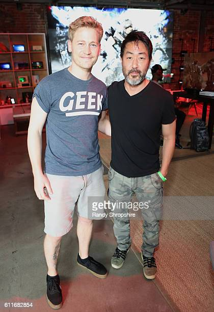 Actors Gavin Stenhouse left and Kenneth Choi attend the Xbox Gears Of War 4 Los Angeles launch event at The Microsoft Lounge on September 30 2016 in...