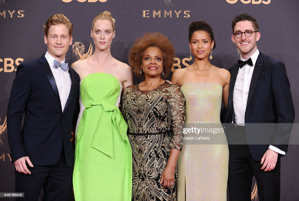 Actors Gavin Stenhouse, Mackenzie Davis, Denise Burse, Gugu Mbatha-Raw and Billy Griffin Jr. of the 'Black Mirror' episode 'San Junipero,' winner of the award for Outstanding Television Movie, pose in the press room at the 69th annual Primetime Emmy Awards at Microsoft Theater on September 17, 2017 in Los Angeles, California.